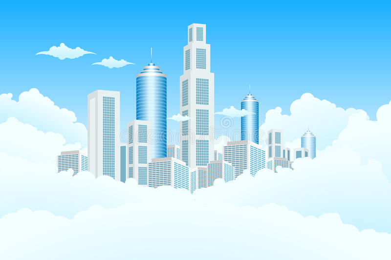 New Modern City in Clouds
