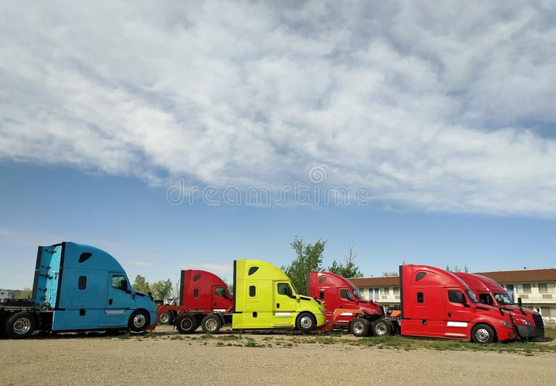 New modern conventional cab tractors royalty free stock images