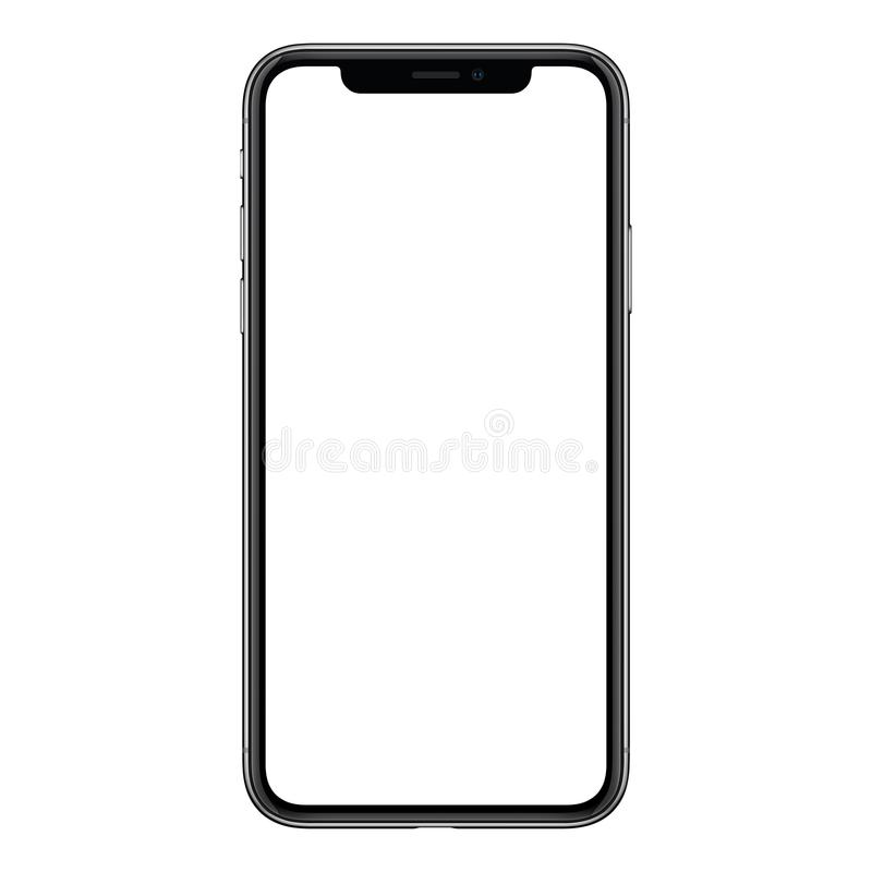 IPhone X. New modern frameless smartphone mockup with white screen isolated on white background. IPhone X. Smartphone mockup. New modern black frameless royalty free stock image