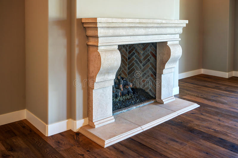 New Modern Home Mansion Fireplace stock photography
