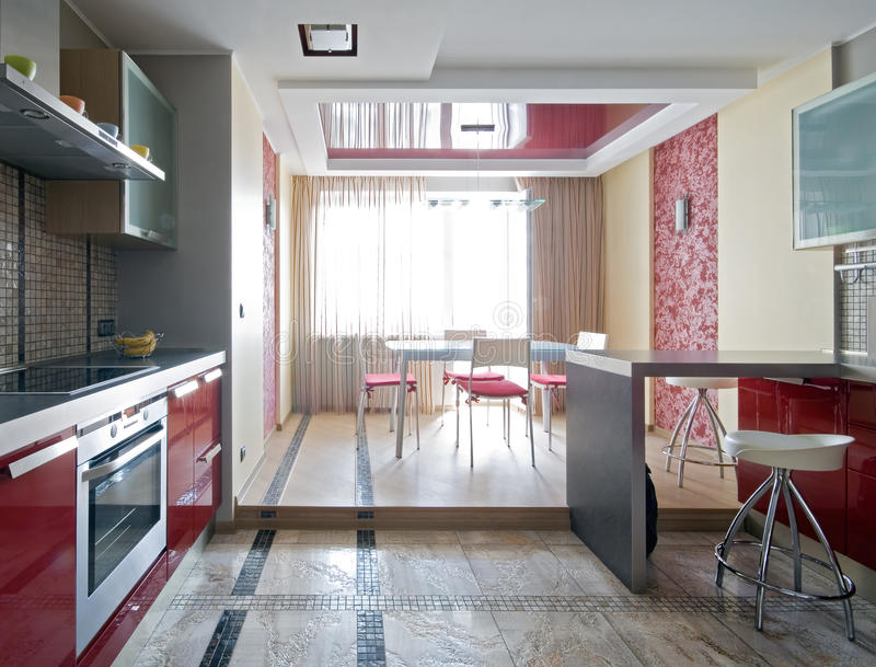 New modern kitchen. Interior of a new modern kitchen royalty free stock photos