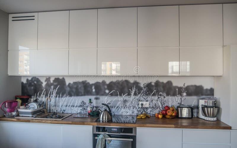 New modern kitchen design stock photos