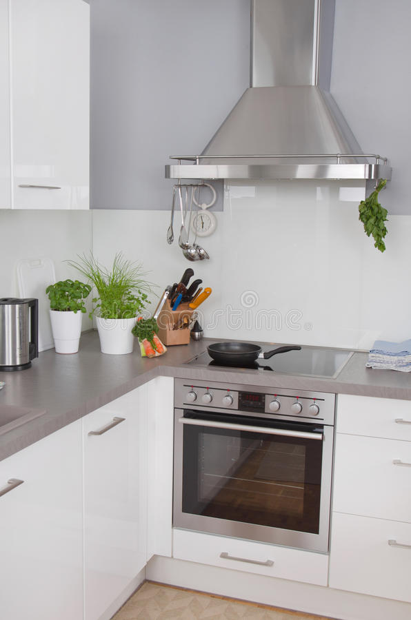 New modern kitchen. With stainless steel appliances royalty free stock image
