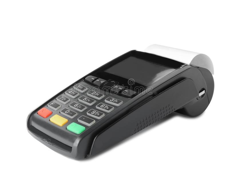 New modern payment terminal. On white background royalty free stock photo
