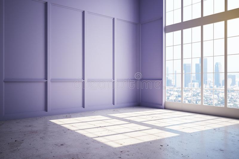 New modern penthouse room with lilac wall, concrete floor and big window. With megapolis view at sunrise. 3D Rendering stock illustration