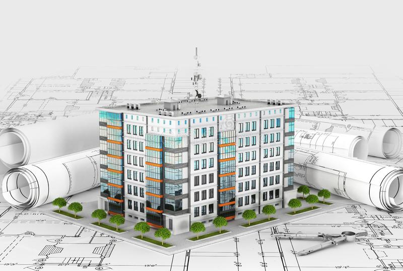 New modern residential building located on the drawings stock illustration