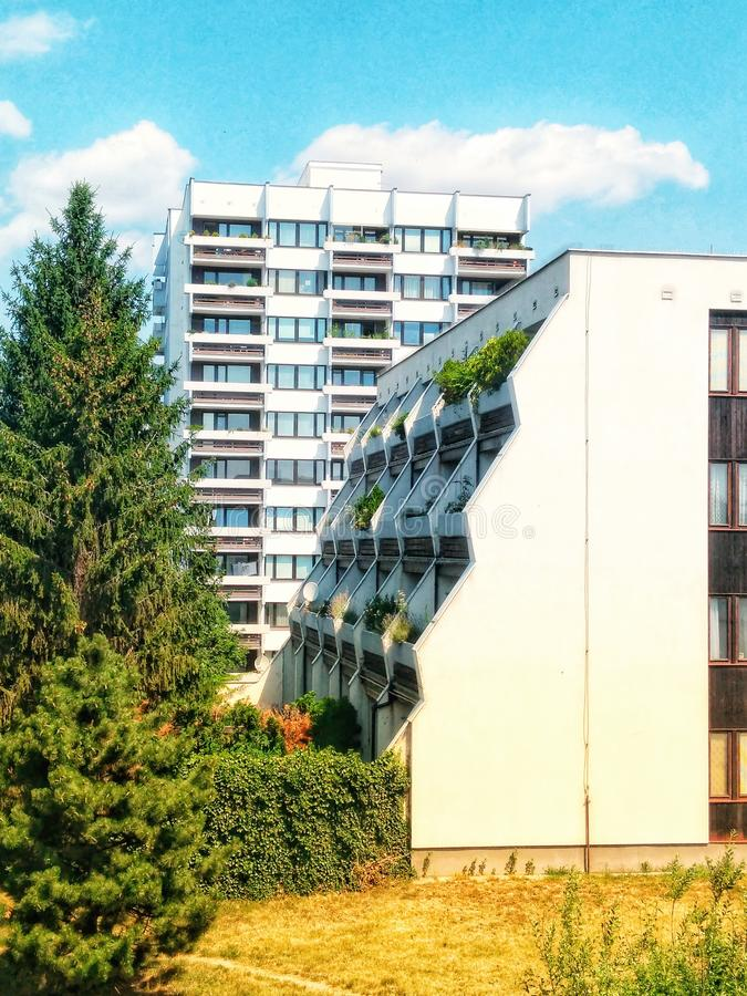 New modern residential buildings with green technology in Prague. New modern residential buildings with green technology stock images