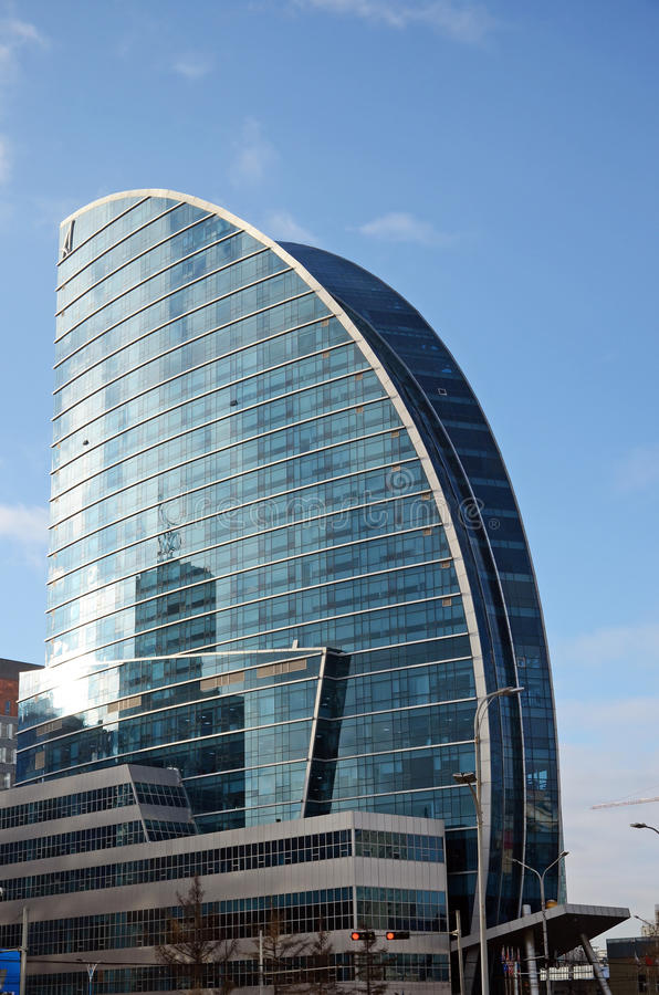 New modern sail-form building on central square of Ulaanbaatar. Mongolia stock photo