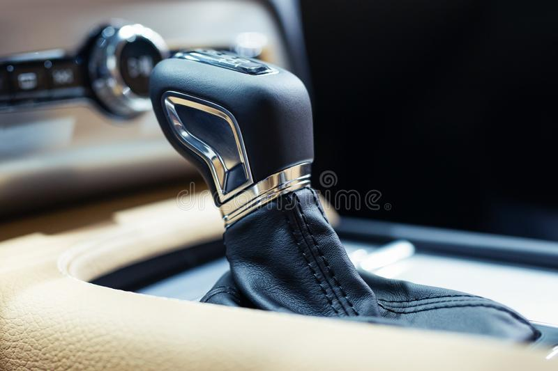 Modern shift gear in luxury car interior stock images