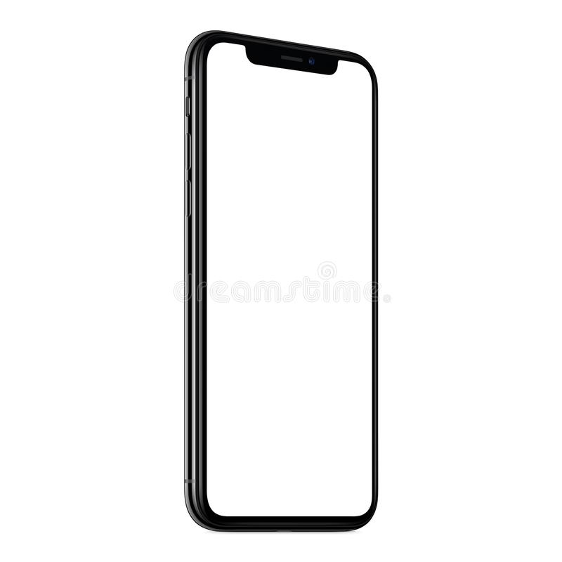 New modern smartphone mockup similar to iPhone X CCW slightly rotated isolated on white background royalty free stock photography