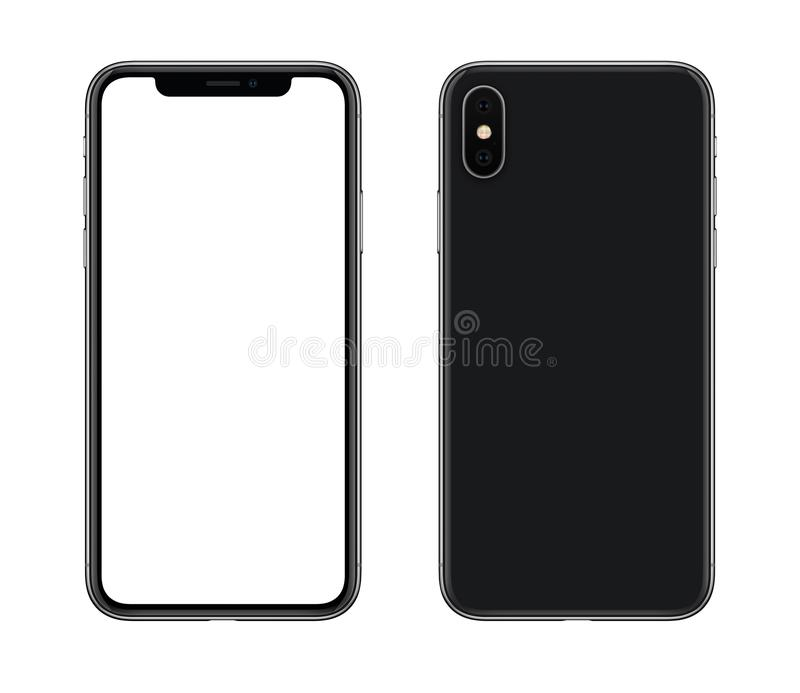 New modern smartphone mockup similar to iPhone X front and back sides isolated on white background royalty free stock photo