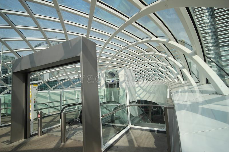 New modern subway station of metro randstadrail line E in The Hague at the central station. Where Den Haag and Rotterdam are now also via light rail connected stock images
