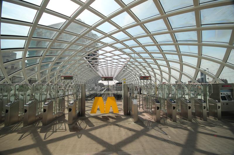 New modern subway station of metro randstadrail line E in The Hague at the central station. Where Den Haag and Rotterdam are now also via light rail connected stock photo