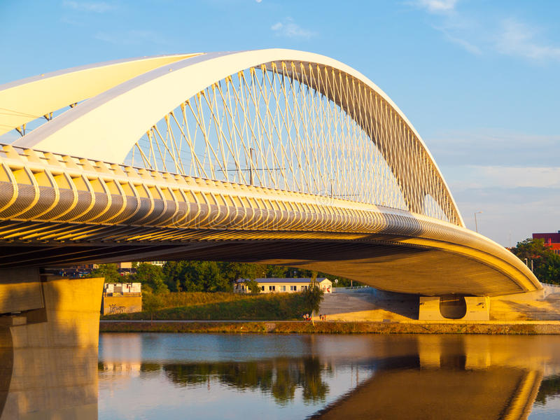 New and modern Troja bridge over Vltava river in Holesovice, Prague, Czech Republic stock images
