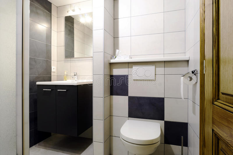 New modern wc with douche in apartment stock photo image of drop