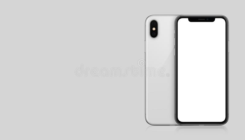 New modern white smartphone similar to iPhone X mockup front and back sides on gray background with copy space royalty free illustration