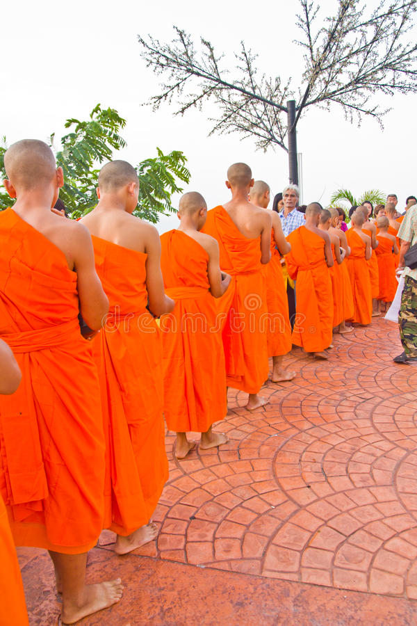 New monk in chiang mai, THAILAND. CHIANG MAI, THAILAND - MAY 14 :Newly ordained Group Buddhist monk has a ritual in the temple procession in Thailand on MAY 14 stock photo