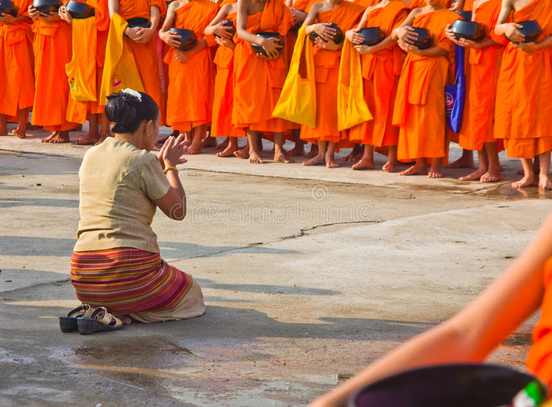 New monk in chiang mai, THAILAND. CHIANG MAI, THAILAND - MAY 14 :Newly ordained Group Buddhist monk has a ritual in the temple procession in Thailand on MAY 14 stock images