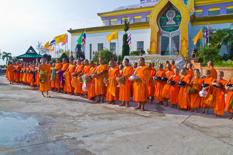 New monk in chiang mai, THAILAND. CHIANG MAI, THAILAND - MAY 14 :Newly ordained Group Buddhist monk has a ritual in the temple procession in Thailand on MAY 14 stock image