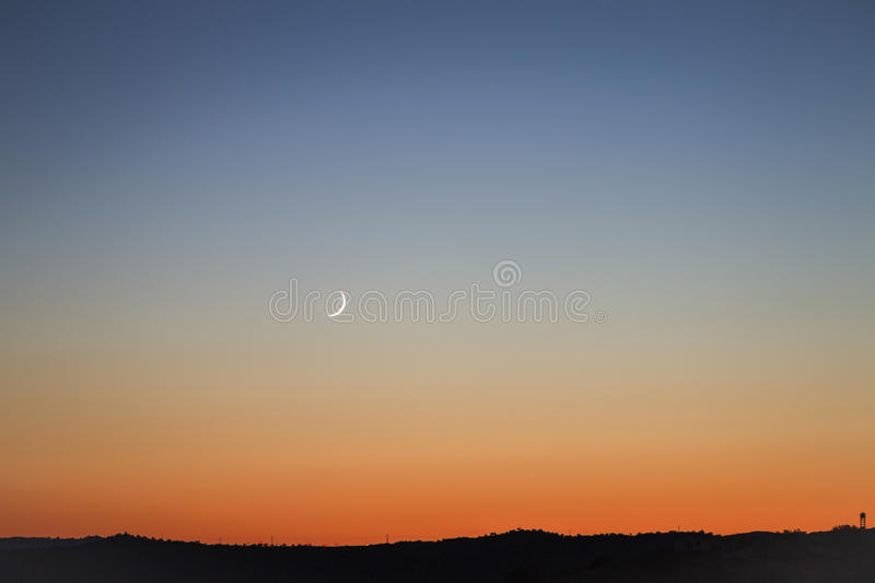 New moon at sunset. In an Spanish, Andalusian sky stock image