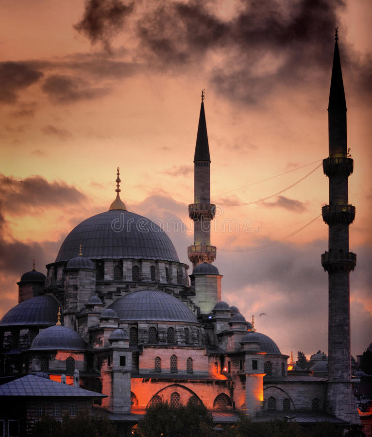 New Mosque Ä°stanbul. Its construction had been started on behalf of Safiye Sultan, a wife of Sultan Murad III in 1597, and after its construction was stopped stock photo
