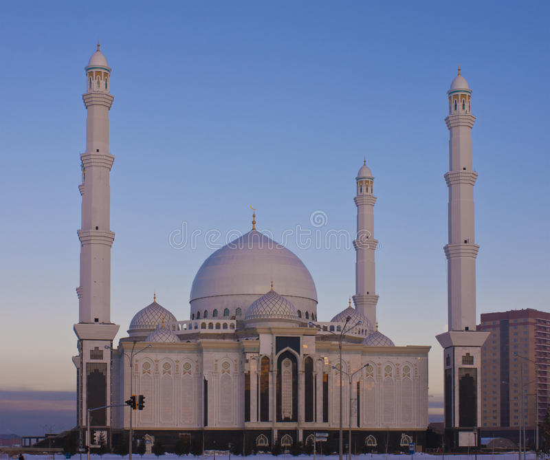 Download New Mosque In Astana On A Winter Evening. Stock Photo - Image of dome, dark: 22597576