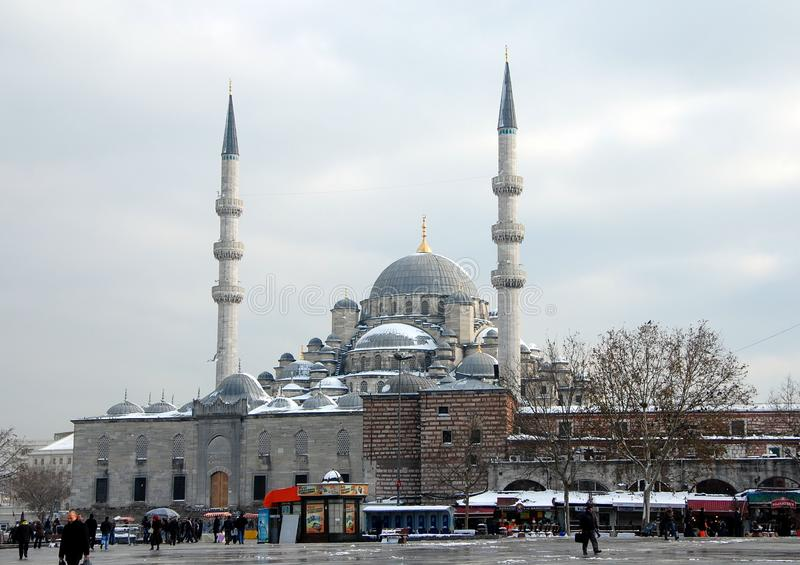 New Mosque in Istanbul. ISTANBUL, TURKEY - JAN 9, 2013 - New Mosque Yeni Cami in Eminonu district, Istanbul, Turkey royalty free stock photography