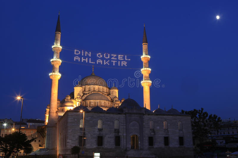 New Mosque in Ramadan in Istanbul,Turkey stock photography