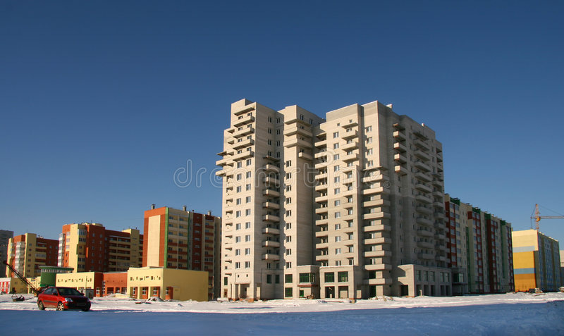 New multi-storey buildings. New multi-storey buildings in new city area in Chelyabinsk in Urals Mountains stock image