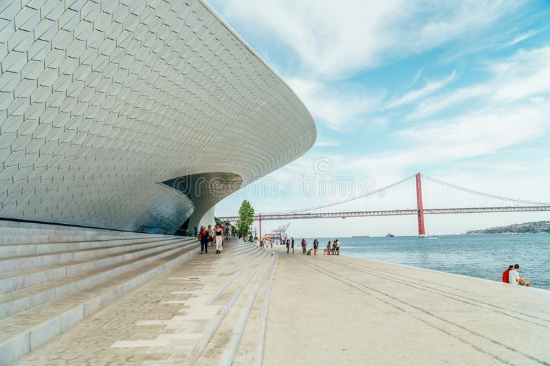 The New Museum Of Art, Architecture and Technology Museu de Arte, Arquitetura e Tecnologia Or MAAT royalty free stock images