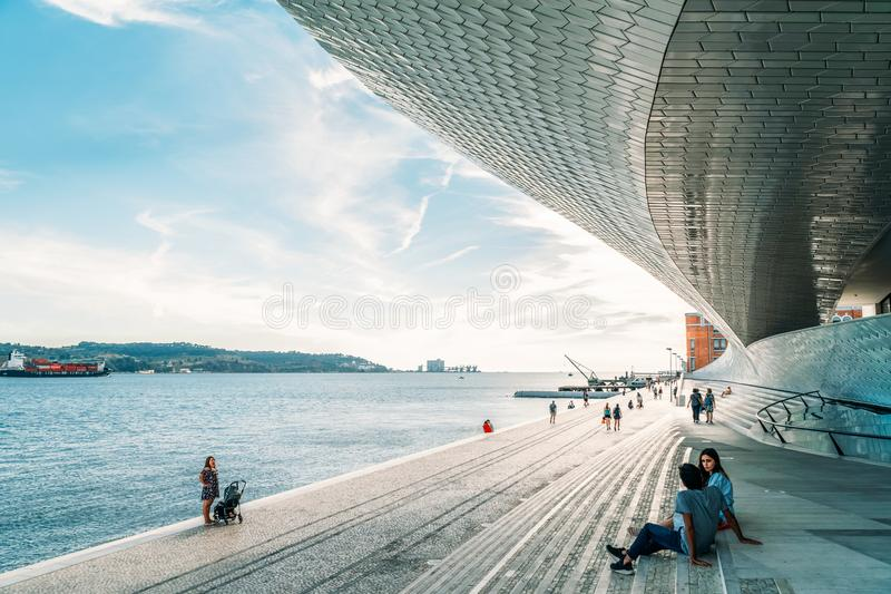 The New Museum Of Art, Architecture and Technology Museu de Arte, Arquitetura e Tecnologia Or MAAT royalty free stock photography