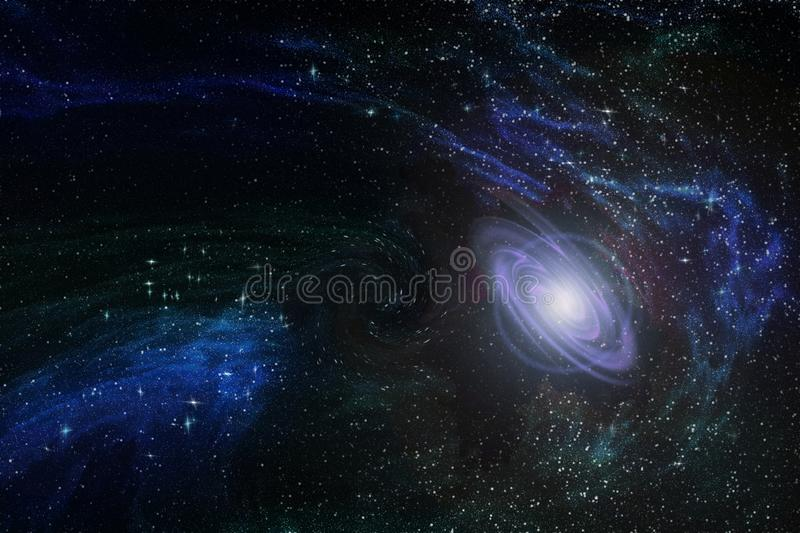 New nascent galaxy in infinite space among multicolored constellations and nebulae, illustration stock illustration