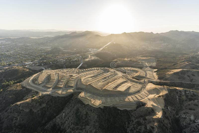 New Neighborhood Grading in Los Angeles California. Aerial view of new neighborhood construction grading near the Porter Ranch community of Los Angeles royalty free stock image