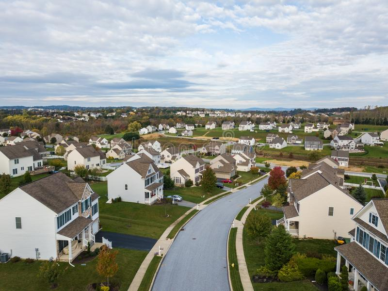 New Neighborhood in Redlion, Pennsylvania from above during Fall.  stock photo