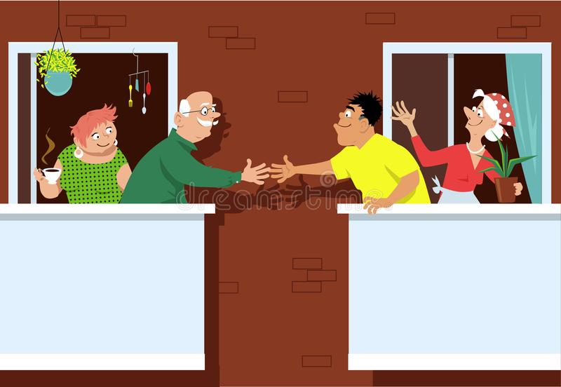 New neighbors at the retirement village. Senior couple greeting new neighbors standing on a patio at a multifamily retirement community, EPS 8 vector royalty free illustration