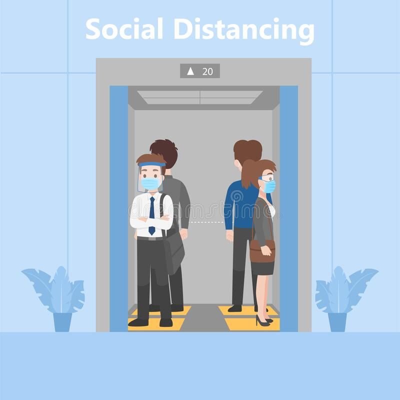 Free New Normal Life People In Business Outfits Social Distancing Standing In Elevator On Footprint Sign Stock Photography - 183176122