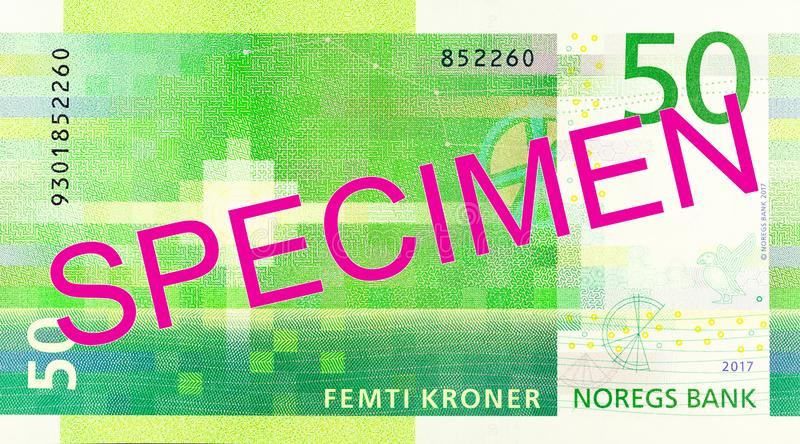 New 50 norwegian krone banknote reverse royalty free stock photography