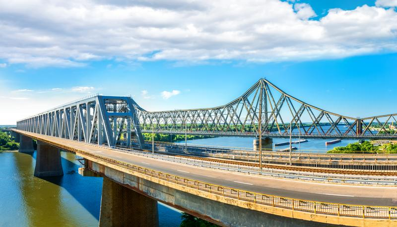 New and old Cernavoda bridges, in Romania. New and old Cernavoda bridges span the Danube, in Romania royalty free stock photos