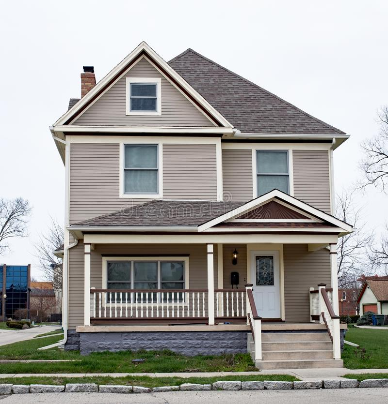 Two Story House with Spindle Porch Railing stock images
