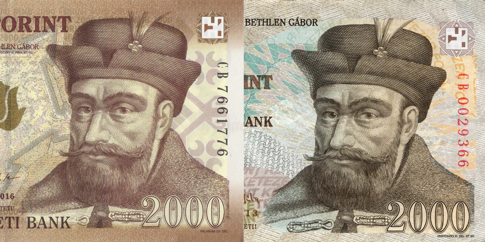 New and old hungarian forint, 2000. Money of Hungary, new and old 2000 forint macro with portrait of Gabor Bethlen stock image