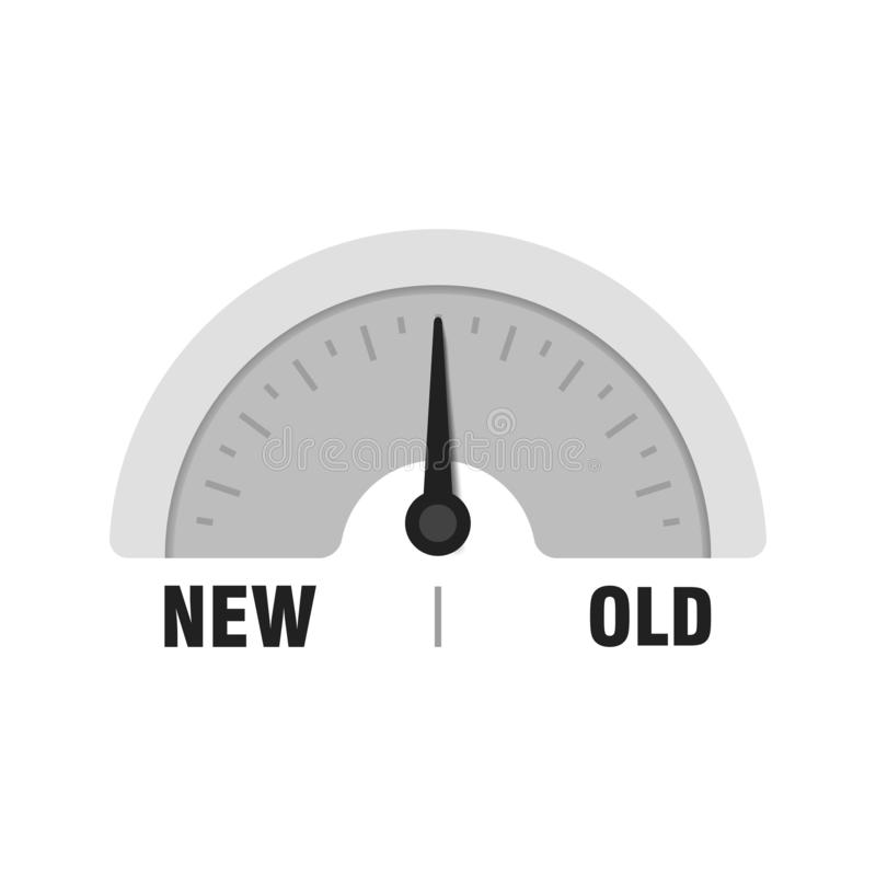 New Old measuring gauge. Vector indicator illustration. Meter with black arrow in white vector illustration