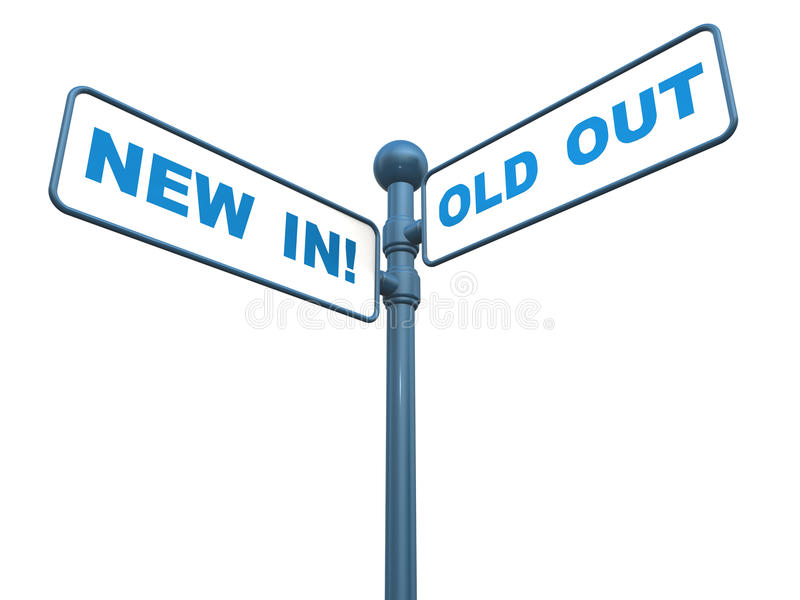 New in old out. Concept, words over a street sign royalty free illustration