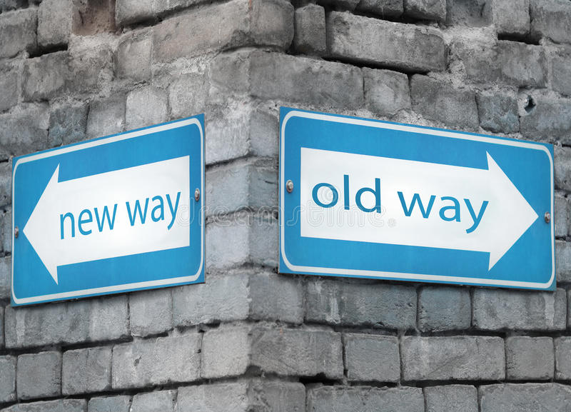 New and old way directions royalty free stock photo