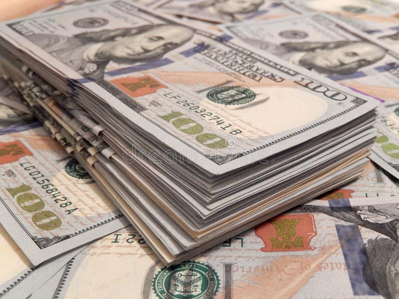 New one Hundred Dollar Bills stack stock photography
