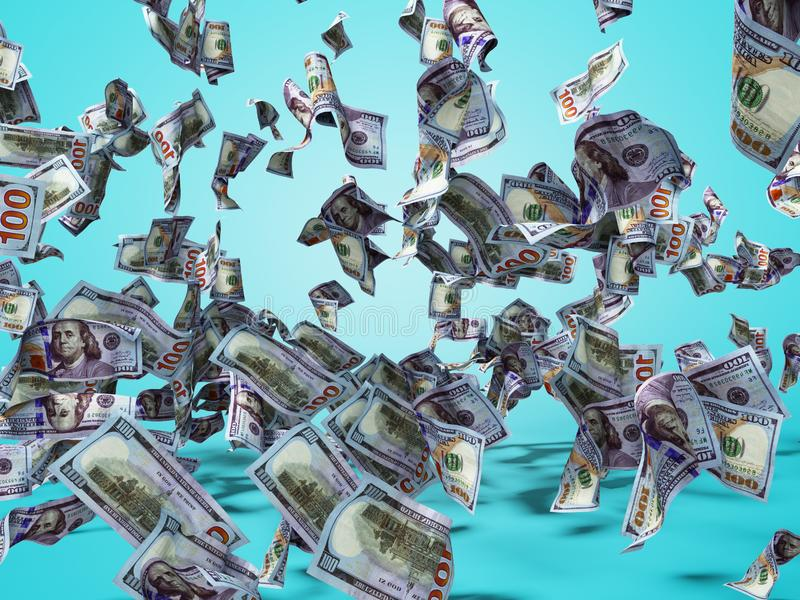New one hundred dollars banknotes falling on the floor 3d render on blue background with shadow stock illustration