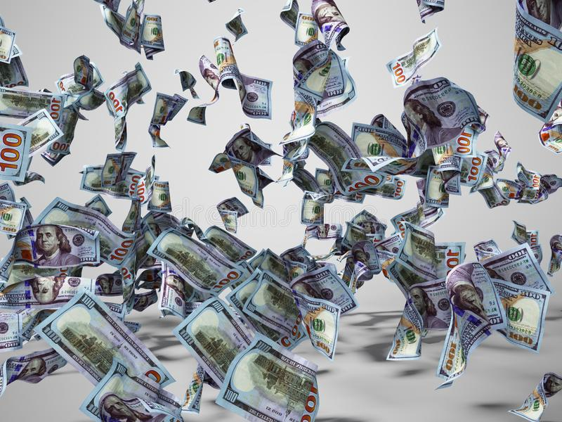 New one hundred dollars banknotes falling on the floor 3d render on gray background with shadow stock illustration