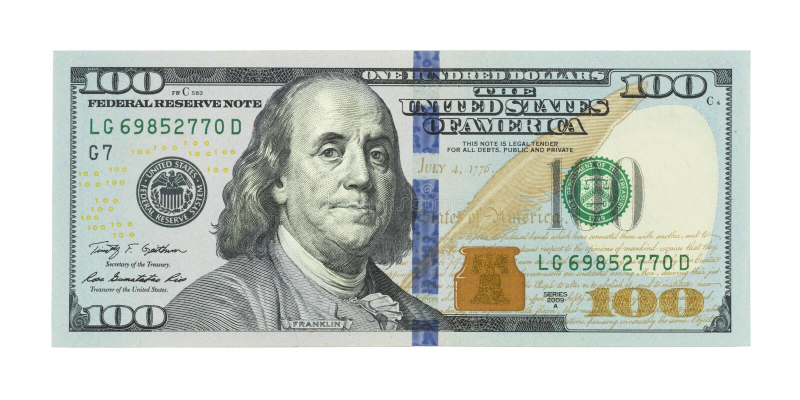 New one hundred US dollars bill, 100 bucks, American 100 dollar stock photo