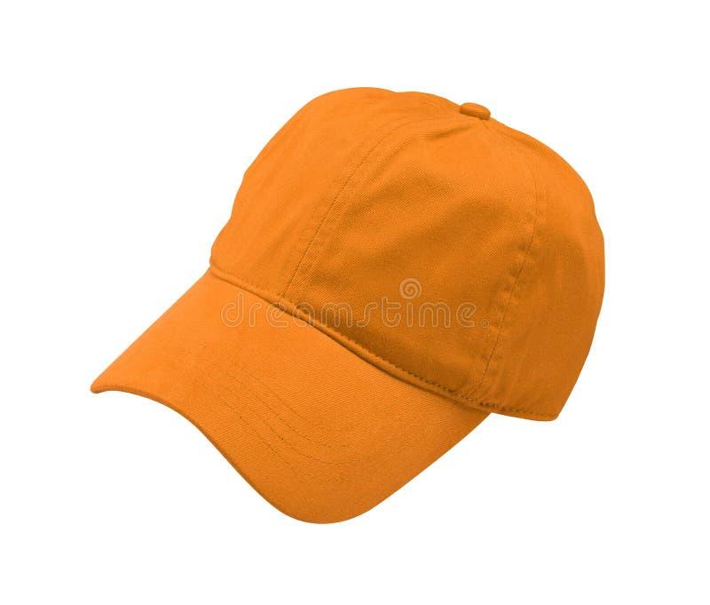 New Orange Baseball Cap isolated on white stock photos