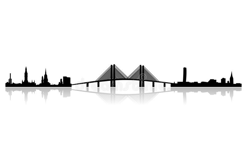 New oresund region skyline. Vector illustration as skyline silhouette of the new regional area of oresund, involving the danish capital copenhagen and the