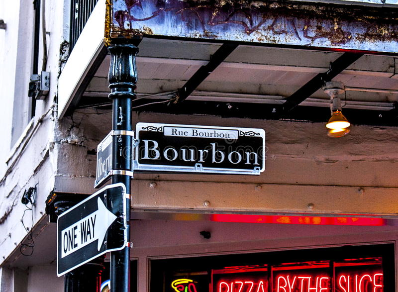 New Orleans Bourbon Street in the the French Quarter royalty free stock image